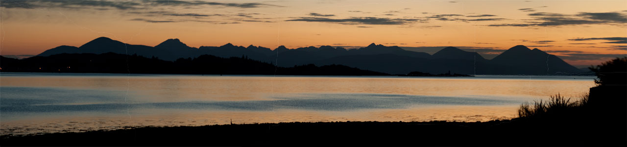 The sun sets over the Cuillin mountains